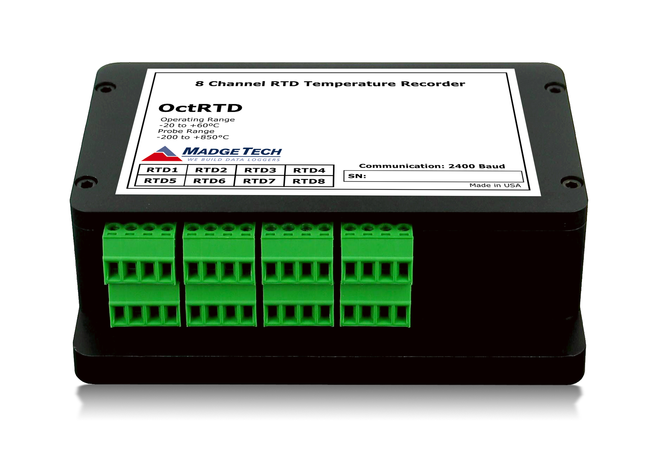 OctRTD precision 8 channel data logger