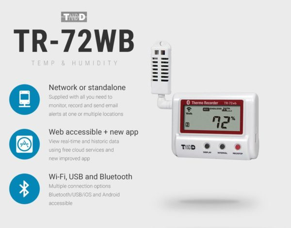 TR-72WB bluetooth and USB humidity temperature logger tool