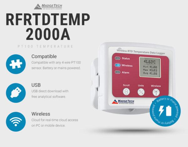 RFRTDTemp2000A USB and Wireless PT100 Temperature Data Logger