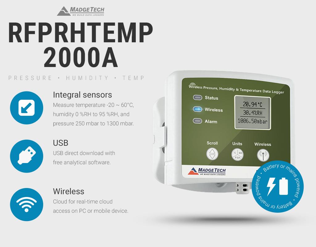 RFPRHTemp2000A USB and Wireless Pressure Humidity Temperature Data Logger