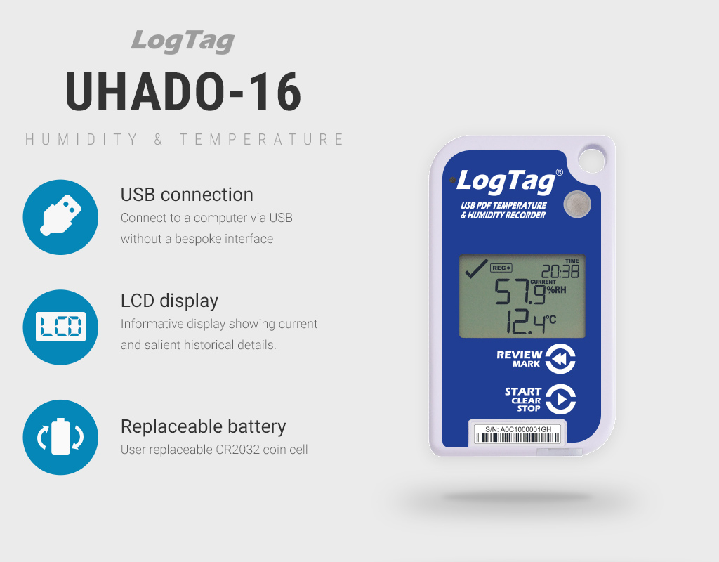 UHADO-16 temperature and humidity data logger